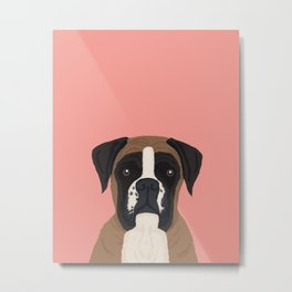 Boxer dog art print cute dog breed customizable pet portrait animal man's best friend dog person  Metal Print