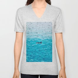 Orca Whale gliding through the water on a rainy day Unisex V-Neck