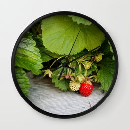 Wild Strawberry Photography Print Wall Clock