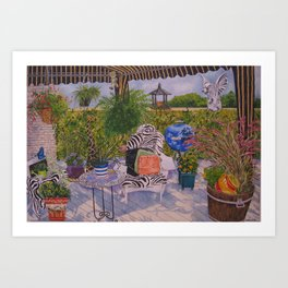 Garden Deck With Blue Barbecue Art Print