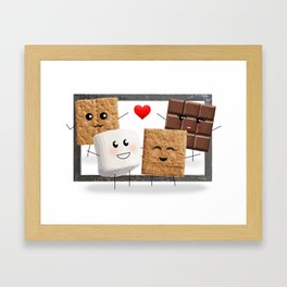 Friends with Smores Framed Art Print