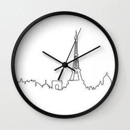 Paris, France Outline (Eiffel Tower, Notre Dame) Wall Clock