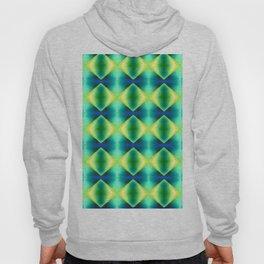 Green Yellow Geometric Metallic Diamond Pattern Hoody