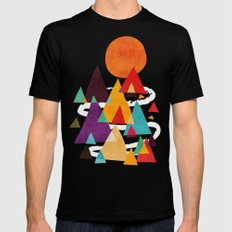 Let's visit the mountains MEDIUM Mens Fitted Tee Black