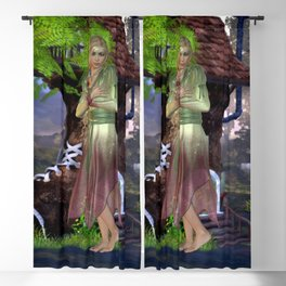 Green Fairy and Shoe House Blackout Curtain