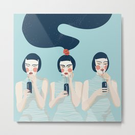 Three Girls in Blue Metal Print