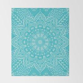 Teal mandala Throw Blanket