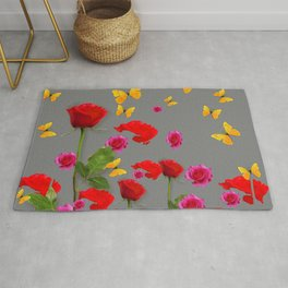 RED &  FUCHSIA PINK ROSES YELLOW BUTTERFLIES ABSTRACT Rug