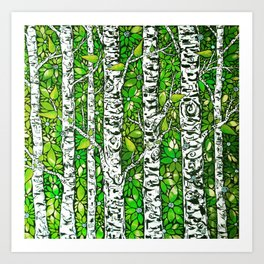 Green Birch Forest Art Print