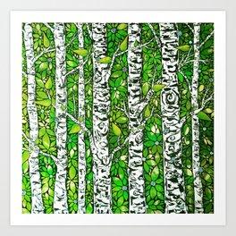 Green Birch Forest Art Print