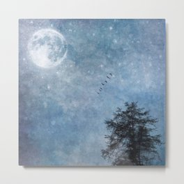 Moon lit flight Metal Print