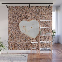 Heart-Shaped White Shell on Sandy Beach Wall Mural