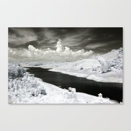 Pastoral River and Snow Black and White Photographic Art Print Canvas Print