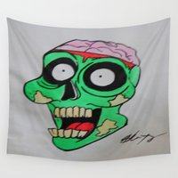 zombie Wall Tapestries featuring zombie  by Heartshapedbox666