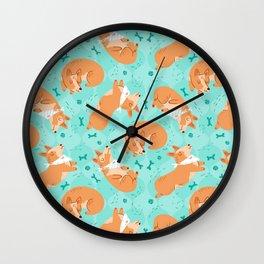 Corgi Dog Pattern Wall Clock