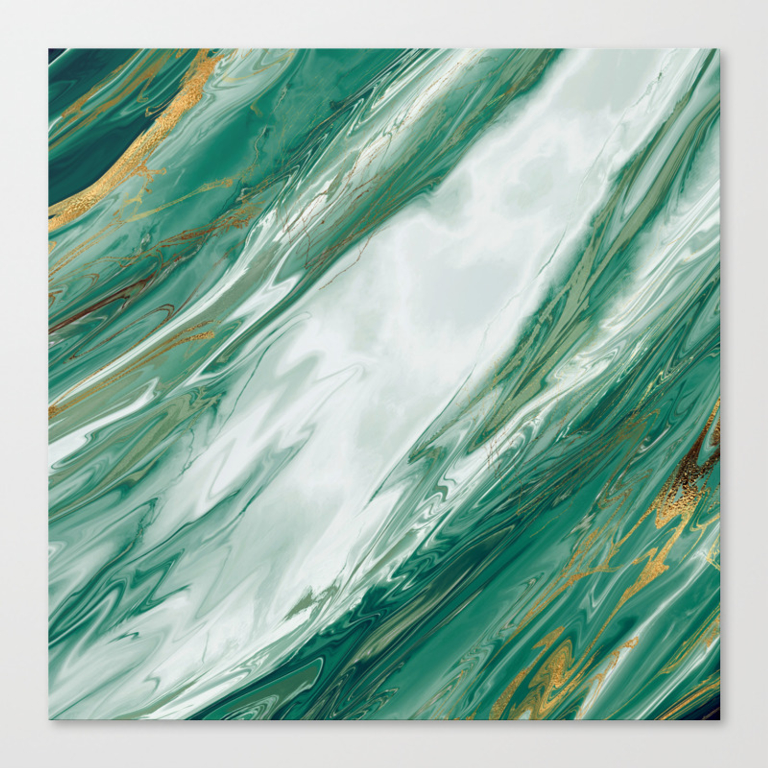 Emerald Jade Green Gold Accented Painted Marble Canvas Print By Blackstrawberry Society6