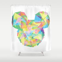 onesie Shower Curtains featuring Mickey's pieces  by Jarrah James