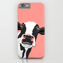 Black & Cow Portrait on coral iPhone Case