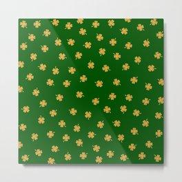 Golden Shamrocks Green Background Metal Print