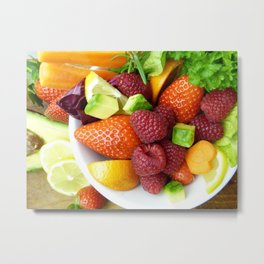 Fruits and Vegetables - Cafe or Kitchen Decor Metal Print