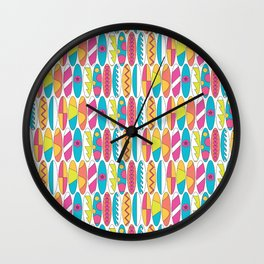 Rainbow Colored Waikiki Surfboards Wall Clock