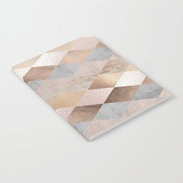 Copper and Blush Rose Gold Marble Argyle Notebook