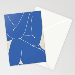 Cover page nude in blue Stationery Cards
