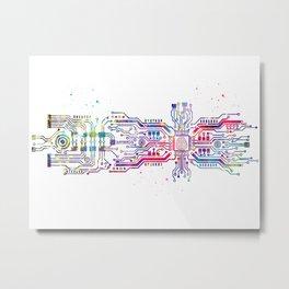 Circuit board with brain Metal Print