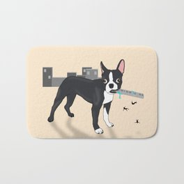 Attack of the Colossal Boston Terrier!!! Bath Mat