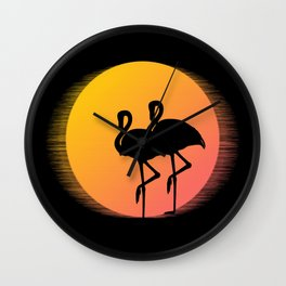 Flamingo Sunset Wall Clock