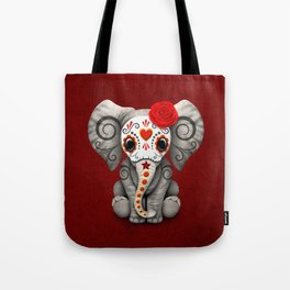 Deep Red Day of the Dead Sugar Skull Baby Elephant Tote Bag