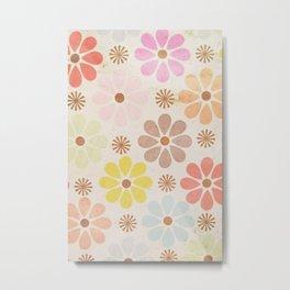 Vintage Pastel Flower Pattern Metal Print