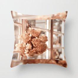 Tethered hydrangea or hortensia Throw Pillow