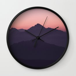 Color Gradient Mountains Wall Clock