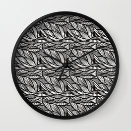 black and white doodle waves 2 Wall Clock