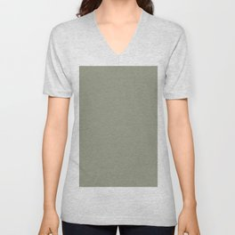 Pastel Sage Green Solid Color Pairs To Dunn & Edwards Flagstone Quartzite DET517 Unisex V-Neck