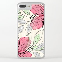 Large pink flowers. Clear iPhone Case
