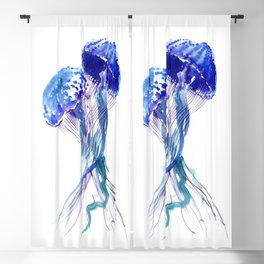 Jellyfish, Aqua Blue Marine Beach Art Blackout Curtain