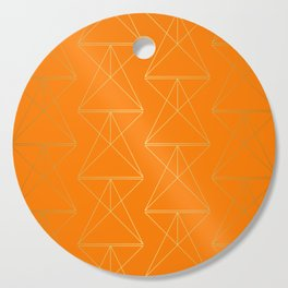 Orange Geometric Triangles Cutting Board