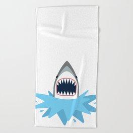 Cartoon Shark Splash Beach Towel