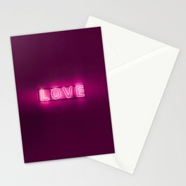 Love Neon Sign Stationery Cards