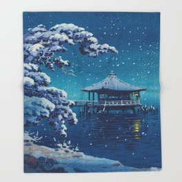 Tsuchiya Kôitsu Japanese Woodblock Vintage Print Blue Winter Snow Pagoda On Lake Throw Blanket
