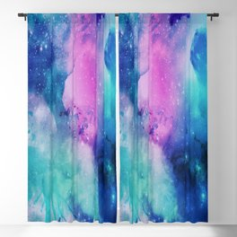 Universe Watercolor - Blueish Nebula Blackout Curtain