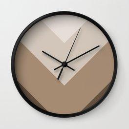 Brown Taupe Chevron Stripes Wall Clock
