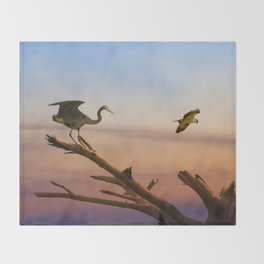 Heron And Osprey At Sunset Throw Blanket