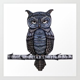 GeoOwl on Birch Branch Art Print