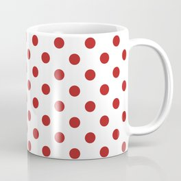 Small Polka Dots - Firebrick Red on White Coffee Mug