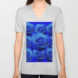 AWESOME BLUE ROSE GARDEN  PATTERN ART DESIGN Unisex V-Neck