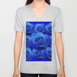 AWESOME BLUE ROSE GARDEN  PATTERN ART DESIGN Unisex V-Neck