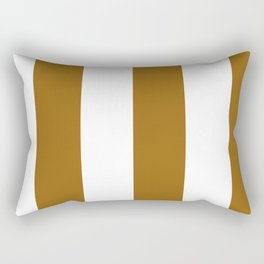 Wide Vertical Stripes - White and Golden Brown Rectangular Pillow